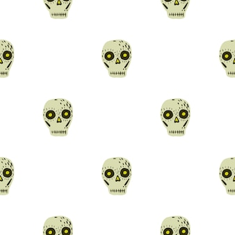 Na białym tle wzór z ornamentem wystrój meksykańskiej czaszki. szkielet w kolorze beżowym na białym tle. stockowa ilustracja. projekt wektor dla tekstyliów, tkanin, opakowań na prezenty, tapet.
