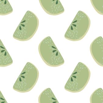 Na białym tle wzór z plastrami zielonego jabłka pastelowe. białe tło. letni druk kreskówek. projekt graficzny do owijania tekstur papieru i tkanin. ilustracja wektorowa.