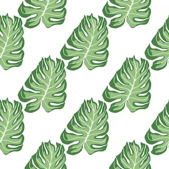 Na białym tle wzór z zielonym liściem monstera druku sylwetki. białe tło. tło dekoracyjne do projektowania tkanin, nadruków na tekstyliach, zawijania, okładek. ilustracja wektorowa.