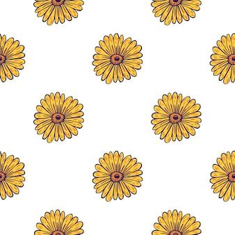 Na białym tle wzór z żółtym słonecznikiem prostym