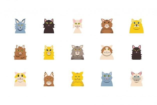 Na białym tle zestaw kreskówek słodkie koty