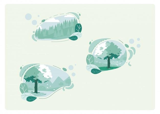 Na białym tle zielone krajobrazy i liście