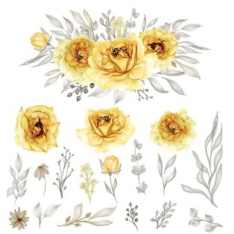 Na białym tle złoty żółty kwiat róży liście na ślub