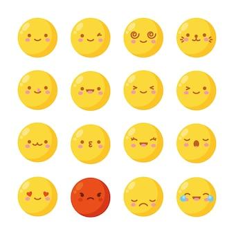 Na białym tle żółte emoji z różnymi uczuciami. ilustracja