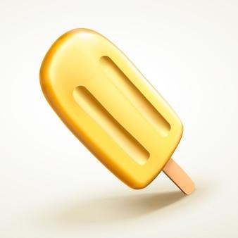 Na białym tle żółty smak popsicle, ananas lub banan do zastosowań