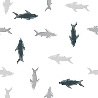 Na białym tle zoo morskie wzór z szarym kolorowym rekinem ornamentem ryb. białe tło. przeznaczony do projektowania tkanin, nadruków na tekstyliach, zawijania, okładek. ilustracja wektorowa.