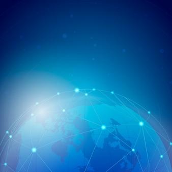 Na całym świecie podłączeniowy błękitny tło ilustraci wektor