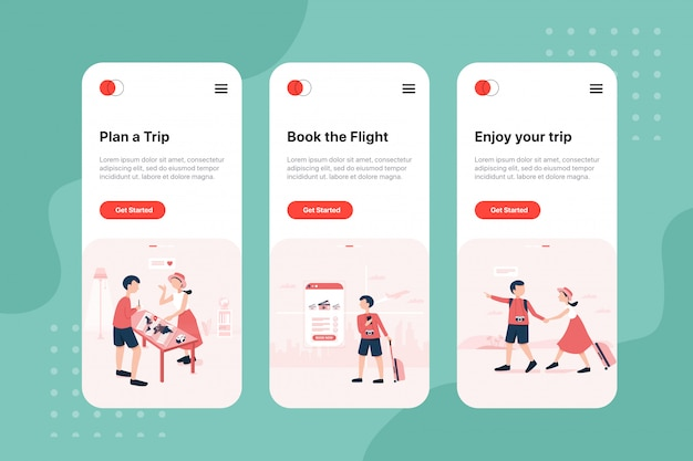 Na ekranach pokładowych aplikacji booking travel