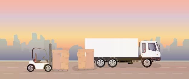 Na ilustracji drogi stoi ciężarówka i paleta z kartonami