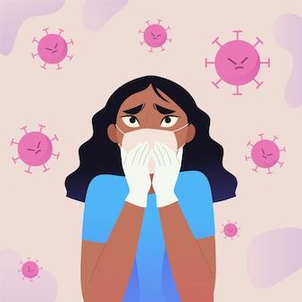 Na ilustracji kobieta boi się choroby covid-19