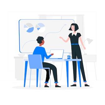 Na ilustracji koncepcji biurowej