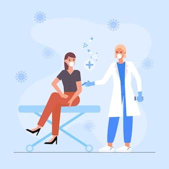 Na ilustracji lekarz wstrzykujący szczepionkę pacjentowi