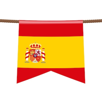 Na linie wisi flaga narodowa hiszpanii. symbol kraju w proporczyku wiszącym na linie. ilustracja wektorowa realistyczne.