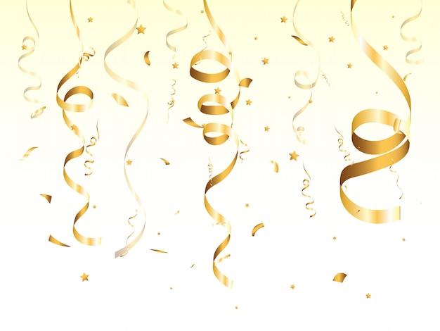 Na pięknym tle złote konfetti. spadające serpentyny na scenie.