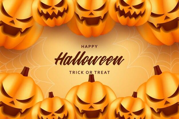Na pomarańczowym tle jest uśmiechnięta impreza z dyni halloween