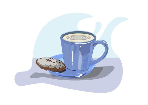 Na stole stoi niebieska filiżanka kawy cappuccino z ciasteczkami na spodku
