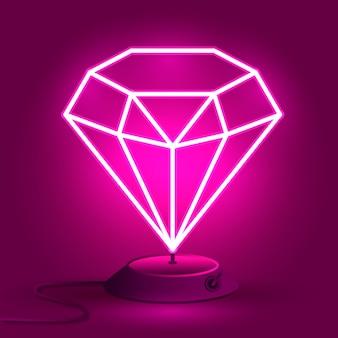 Na stole świeci różowy neonowy diament