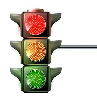 Na światłach trzy kolory świecą jednocześnie na czerwono, żółto i zielono.
