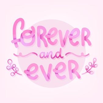 Na zawsze i zawsze romantyczny napis
