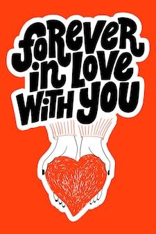 Na zawsze zakochany w tobie handdrawn typografia liter