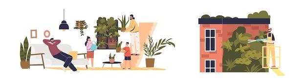 Na zewnątrz i wewnątrz z ogrodami wertykalnymi: uprawa roślin na elewacji budynku oraz w domu z ogrodnikami dbającymi o rośliny zielone. płaska ilustracja wektorowa