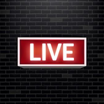 Na żywo na żywo świecąca telewizja, stacja radiowa, transmisja.