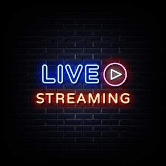 Na żywo streaming neon signs style text vector