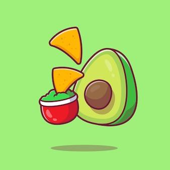 Nachos z sosem awokado kreskówka ikona ilustracja. meksyk koncepcja ikona jedzenie na białym tle. płaski styl kreskówki