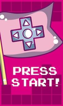 Naciśnij przycisk startowy baner z flagą wektor ilustracja projekt graficzny