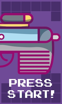 Naciśnij przycisk startowy baner z pistoletu wektor ilustracja projekt graficzny