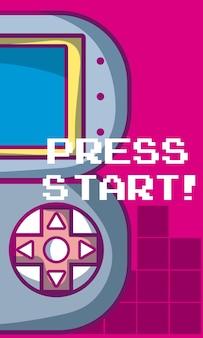 Naciśnij start baneru gier wideo z gamepada wektor ilustracja projekt graficzny