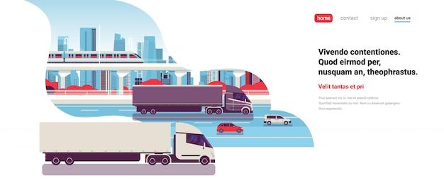 Naczepy ciężarówki przyczepy jazdy autostradą samochody drogowe ciężarówka nad miastem tło dostawa ładunek koncepcja mieszkanie kopia przestrzeń pozioma