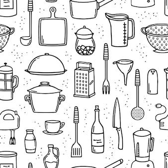 Naczynia do gotowania i narzędzia kuchenne doodle bezszwowe tło