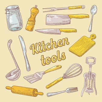 Naczynia do gotowania ręcznie rysowane doodle