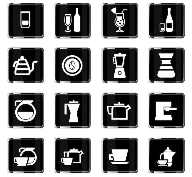 Naczynia do napojów ikon wektorowych do projektowania interfejsu użytkownika