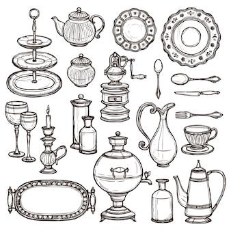 Naczynia doodle szkicu druku ikony set