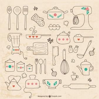 Naczynia kuchenne i rysunki