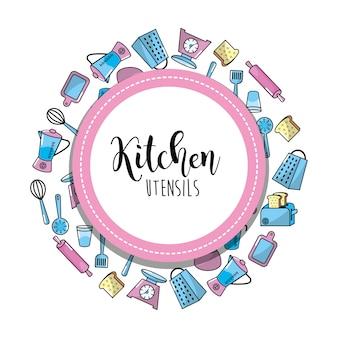 Naczynia kuchenne kulinarna kolekcja tło