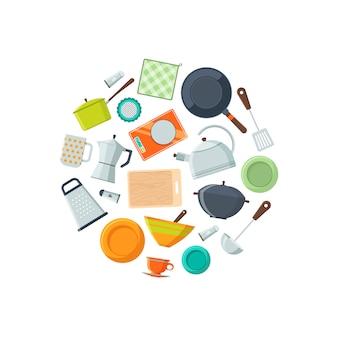 Naczynia kuchenne płaskie ikony