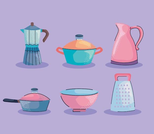 Naczynia kuchenne sześć ikon