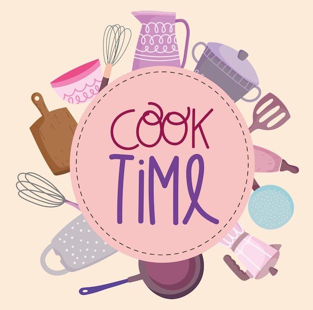 Naczynia kuchenne sztućce w stylu cartoon napis, ilustracja etykiety