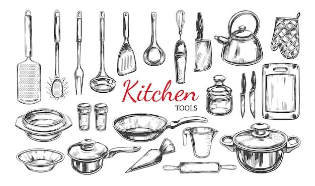 Naczynia kuchenne, zestaw narzędzi. kolekcja gotowania. ręcznie rysowane ilustracje