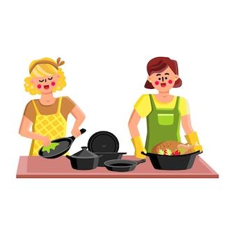 Naczynia żeliwne do gotowania smaczne jedzenie wektor. młoda kobieta mycia naczyń kucharz żeliwny i dziewczyna gotowanie pyszne kurczaka z warzywami w naczynie kuchenne. znaki płaskie ilustracja kreskówka
