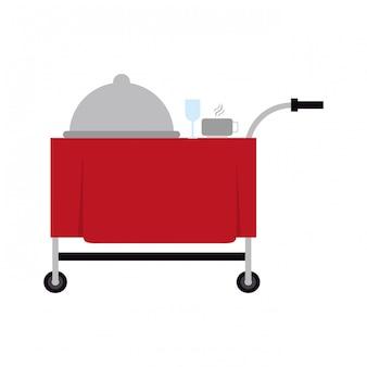 Naczynie kopuły kubek i sztućce na wózku