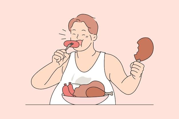 Nad jedzeniem i niezdrową dietą. grubas siedzący jedzenie kiełbasek mięso z apetytem przejadanie się żywym niezdrowym stylem życia ilustracja wektorowa