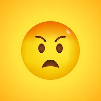 Nadąsana twarz emoji kawaii. nienawiść i wściekłość. zły emoji z czerwoną twarzą. duży uśmiech w 3d.