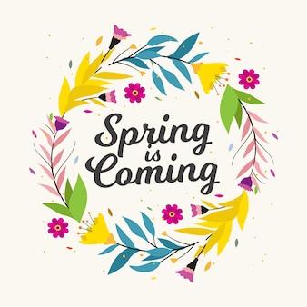 Nadchodzi wiosna, napis w kolorowych kwiatowych ramkach