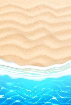 Nadmorska plaża z lazurowymi falami na piaszczystym wybrzeżu. tło wakacje lato nad morzem dla podróży i wakacji