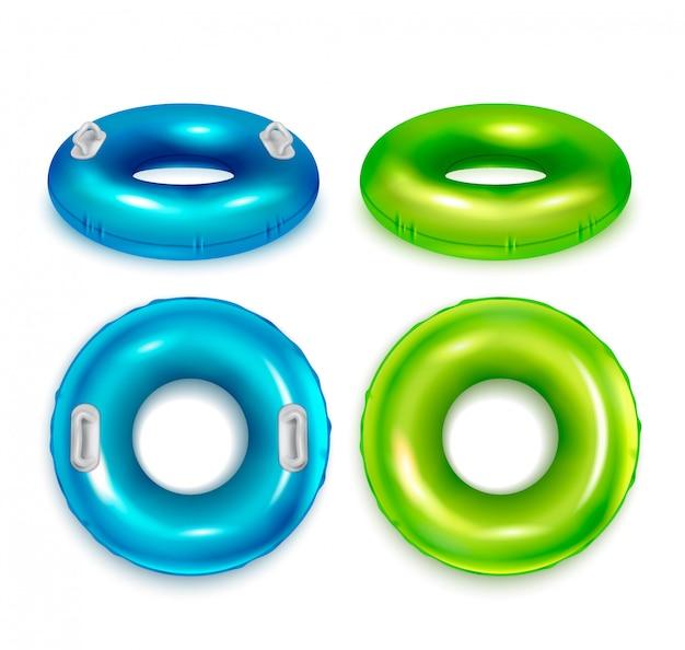 Nadmuchiwane nowoczesne kolorowe gumowe pierścienie pływackie realistyczne zestaw top i widok z boku niebiesko zielony na białym tle