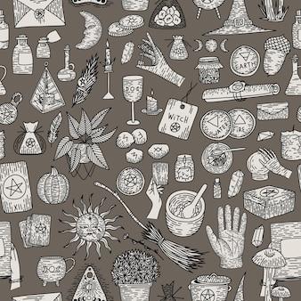Nadprzyrodzona magiczna kolekcja magicznych elementów. rzeczy czarownic, grawerowanie w stylu vintage retro,